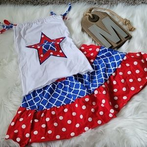 Red, white, and blue tie top and skirt set NWOT
